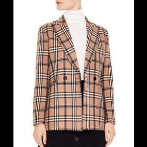 Sandro Sirene Double Breasted Plaid Blazer